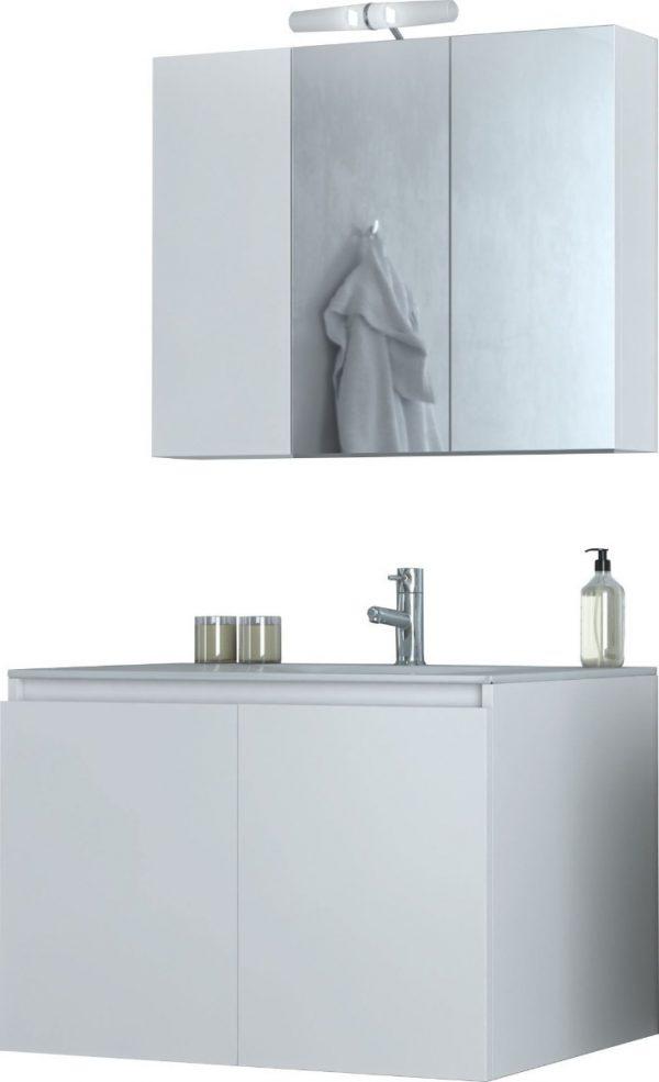 Verona 75 Σετ Μπάνιου με Νιπτήρα και Καθρέφτη Λευκό Drop(5FVR075WH) 3